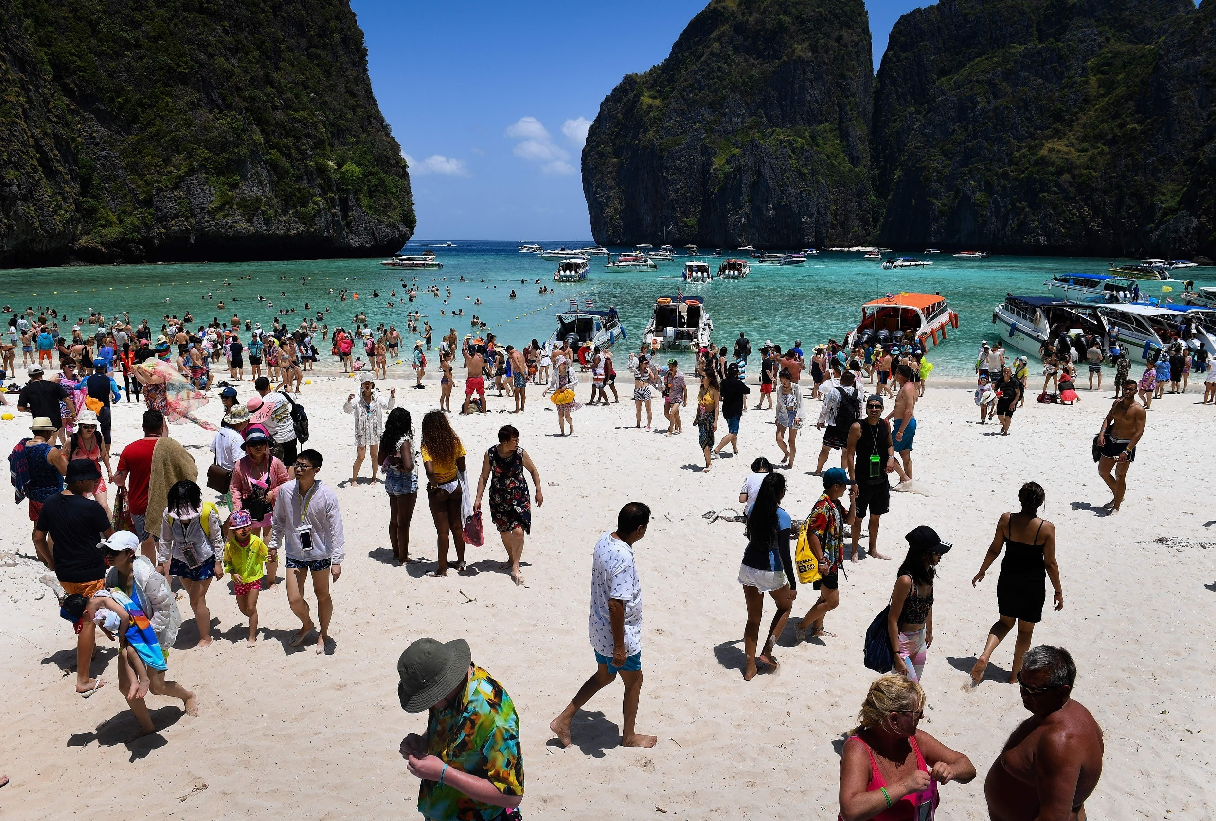 visitors at maya bay in thailand